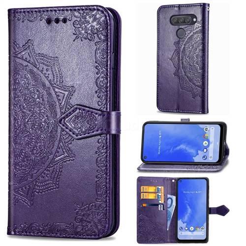 Embossing Imprint Mandala Flower Leather Wallet Case for LG Q70 - Purple