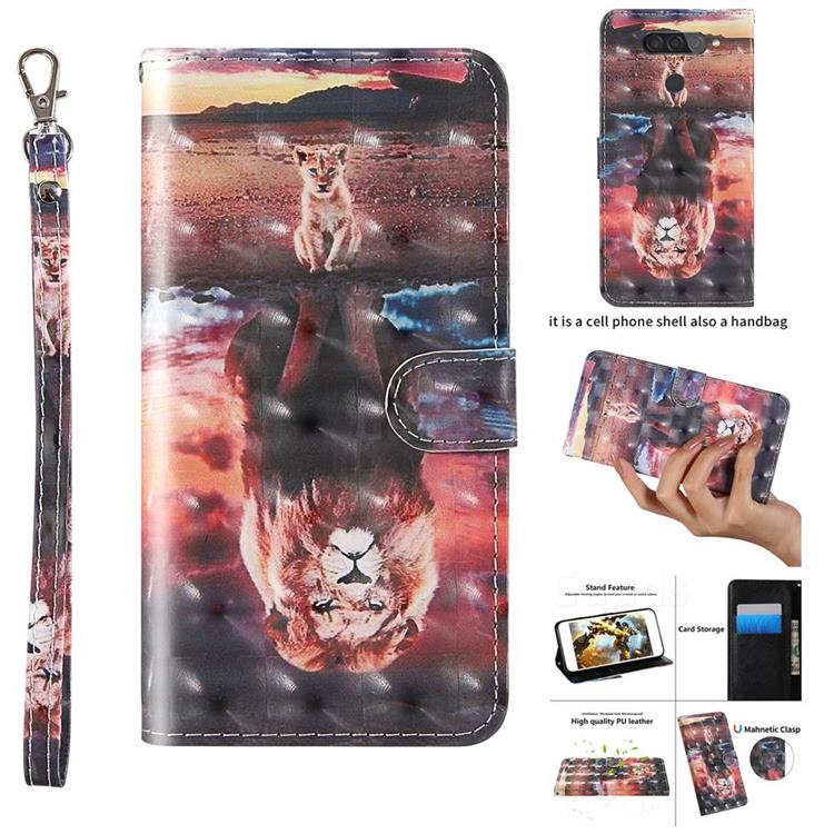 Fantasy Lion 3D Painted Leather Wallet Case for LG Q70