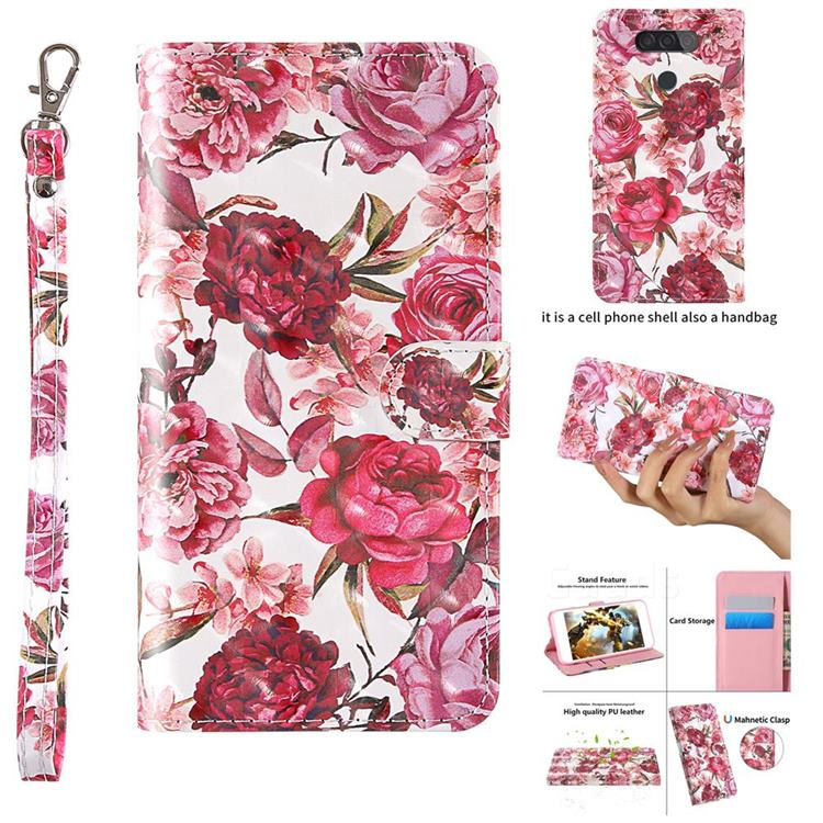 Red Flower 3D Painted Leather Wallet Case for LG Q70