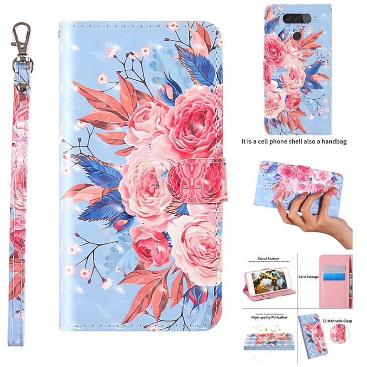 Rose Flower 3D Painted Leather Wallet Case for LG Q70