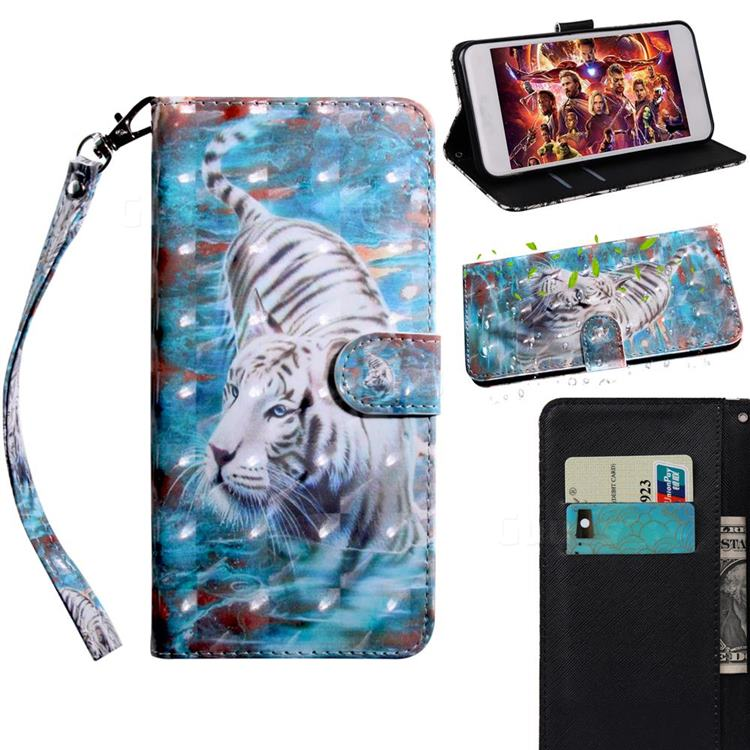White Tiger 3D Painted Leather Wallet Case for LG Q70