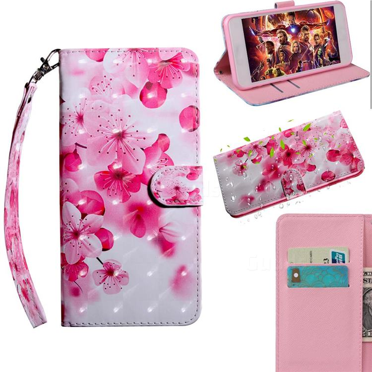 Peach Blossom 3D Painted Leather Wallet Case for LG Q70