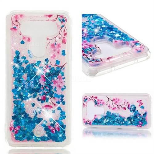Dynamic Liquid Glitter Quicksand Soft TPU Case for LG Q8(2017, 5.2 inch) - Blue Plum Blossom