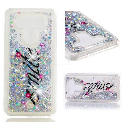 Dynamic Liquid Glitter Quicksand Soft TPU Case for LG Q8(2017, 5.2 inch) - Smile Flower