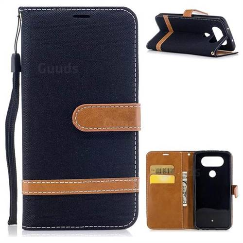 Jeans Cowboy Denim Leather Wallet Case for LG Q8(2017, 5.2 inch) - Black