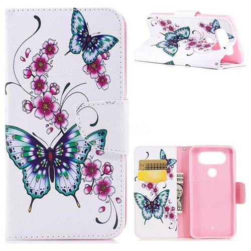 Peach Butterfly Leather Wallet Case for LG Q8