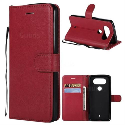 Retro Greek Classic Smooth PU Leather Wallet Phone Case for LG Q8(2017, 5.2 inch) - Red