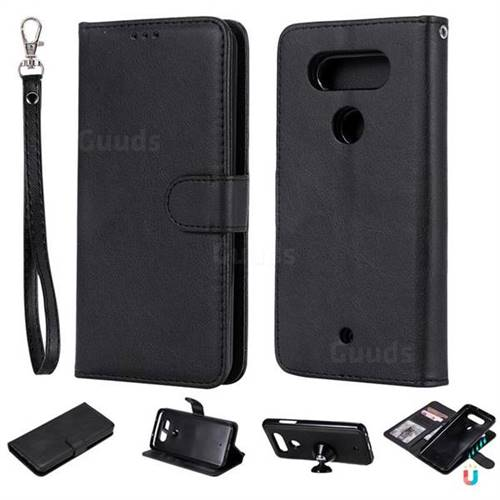 Retro Greek Detachable Magnetic PU Leather Wallet Phone Case for LG Q8(2017, 5.2 inch) - Black