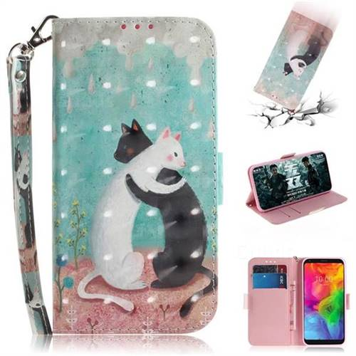 Black and White Cat 3D Painted Leather Wallet Phone Case for LG Q8(2018, 6.2 inch)