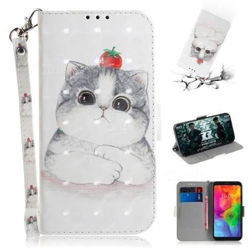 Cute Tomato Cat 3D Painted Leather Wallet Phone Case for LG Q8(2018, 6.2 inch)