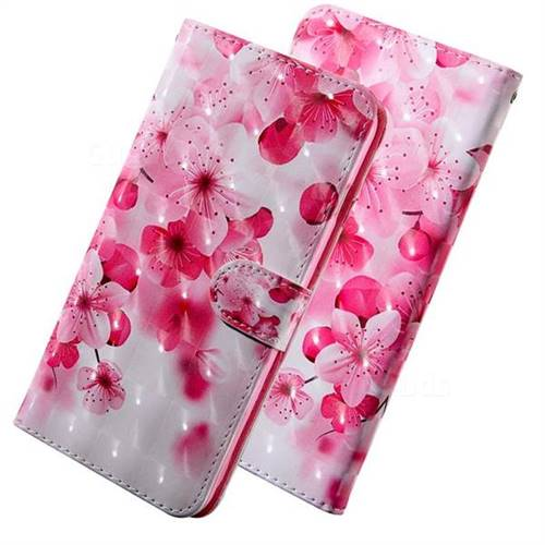 Peach Blossom 3D Painted Leather Wallet Case for LG Q8(2018, 6.2 inch)