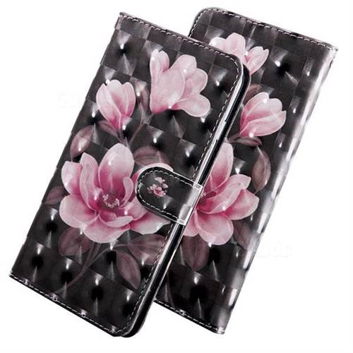 Black Powder Flower 3D Painted Leather Wallet Case for LG Q8(2018, 6.2 inch)