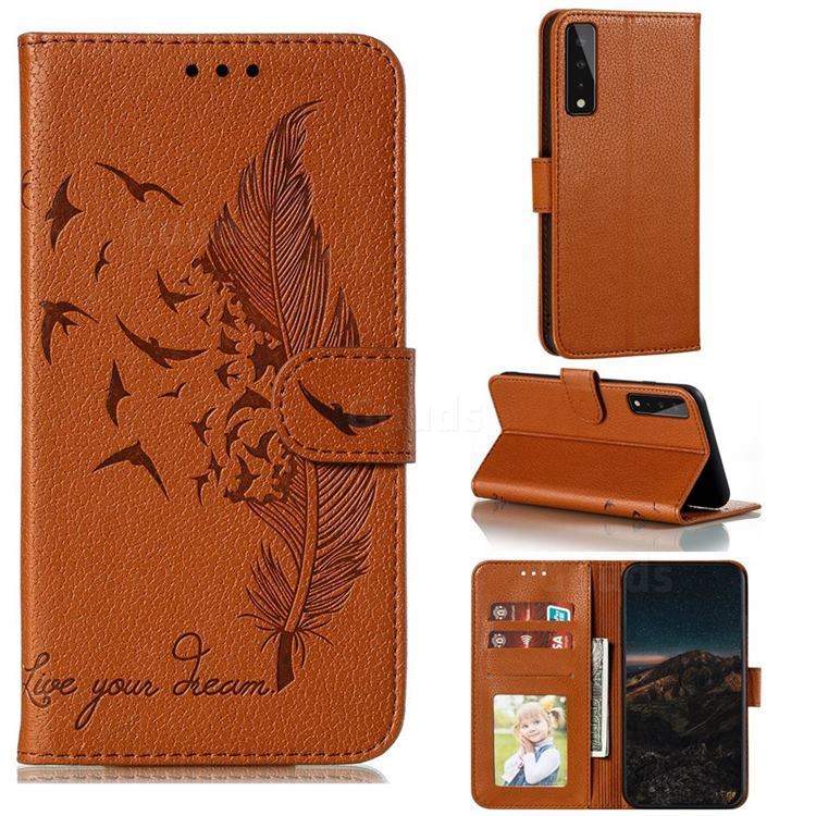 Intricate Embossing Lychee Feather Bird Leather Wallet Case for LG Stylo 7 5G - Brown