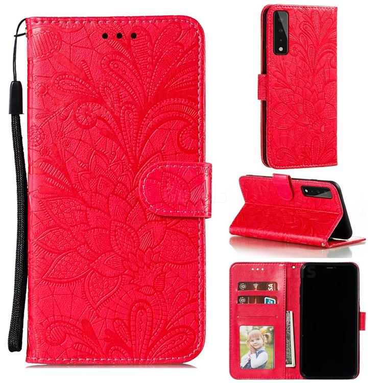 Intricate Embossing Lace Jasmine Flower Leather Wallet Case for LG Stylo 7 5G - Red