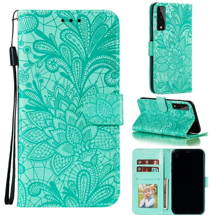Intricate Embossing Lace Jasmine Flower Leather Wallet Case for LG Stylo 7 5G - Green