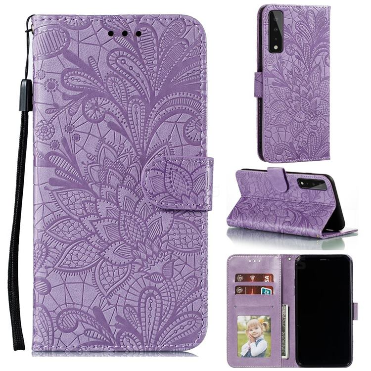 Intricate Embossing Lace Jasmine Flower Leather Wallet Case for LG Stylo 7 5G - Purple