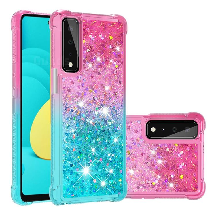 Rainbow Gradient Liquid Glitter Quicksand Sequins Phone Case for LG Stylo 7 5G - Pink Blue
