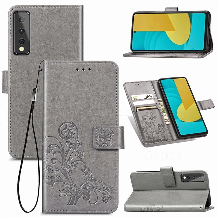 Embossing Imprint Four-Leaf Clover Leather Wallet Case for LG Stylo 7 5G - Grey