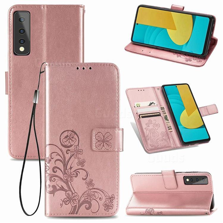 Embossing Imprint Four-Leaf Clover Leather Wallet Case for LG Stylo 7 5G - Rose Gold