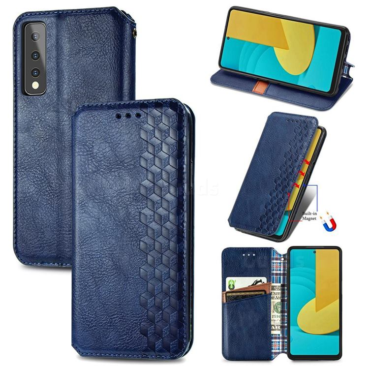 Ultra Slim Fashion Business Card Magnetic Automatic Suction Leather Flip Cover for LG Stylo 7 5G - Dark Blue
