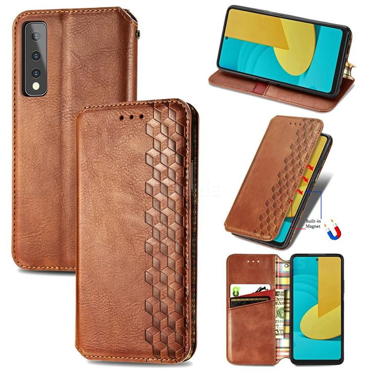 Ultra Slim Fashion Business Card Magnetic Automatic Suction Leather Flip Cover for LG Stylo 7 5G - Brown