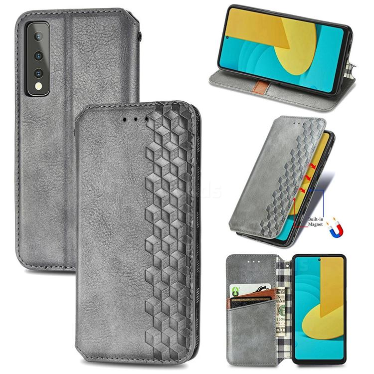 Ultra Slim Fashion Business Card Magnetic Automatic Suction Leather Flip Cover for LG Stylo 7 5G - Grey