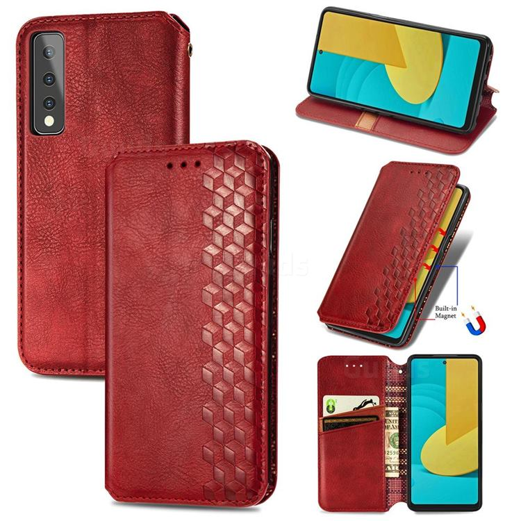 Ultra Slim Fashion Business Card Magnetic Automatic Suction Leather Flip Cover for LG Stylo 7 5G - Red