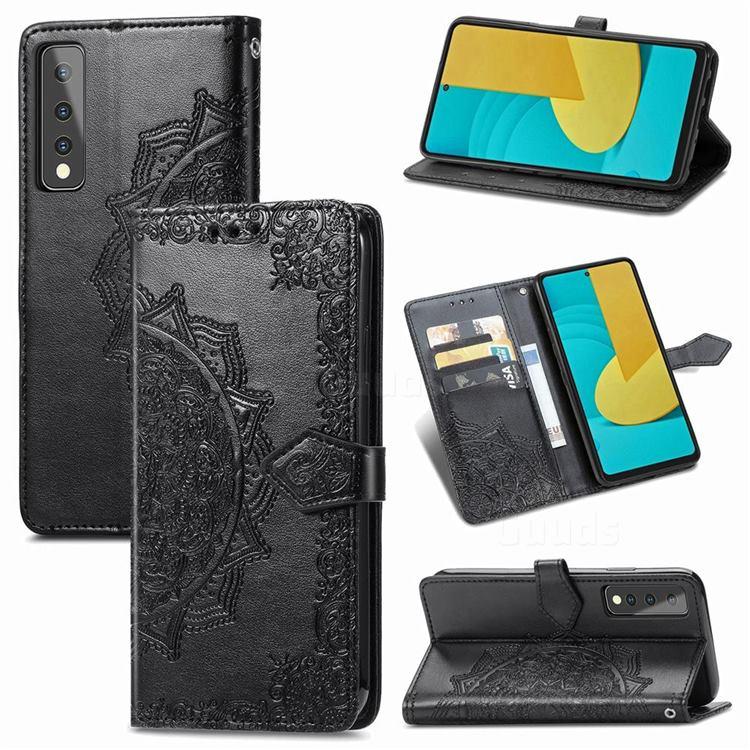 Embossing Imprint Mandala Flower Leather Wallet Case for LG Stylo 7 5G - Black