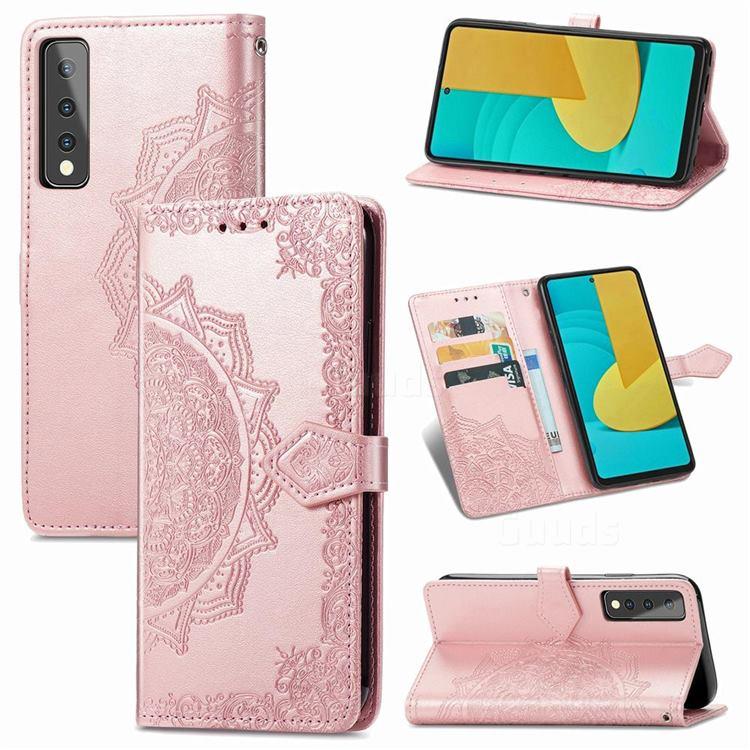 Embossing Imprint Mandala Flower Leather Wallet Case for LG Stylo 7 5G - Rose Gold