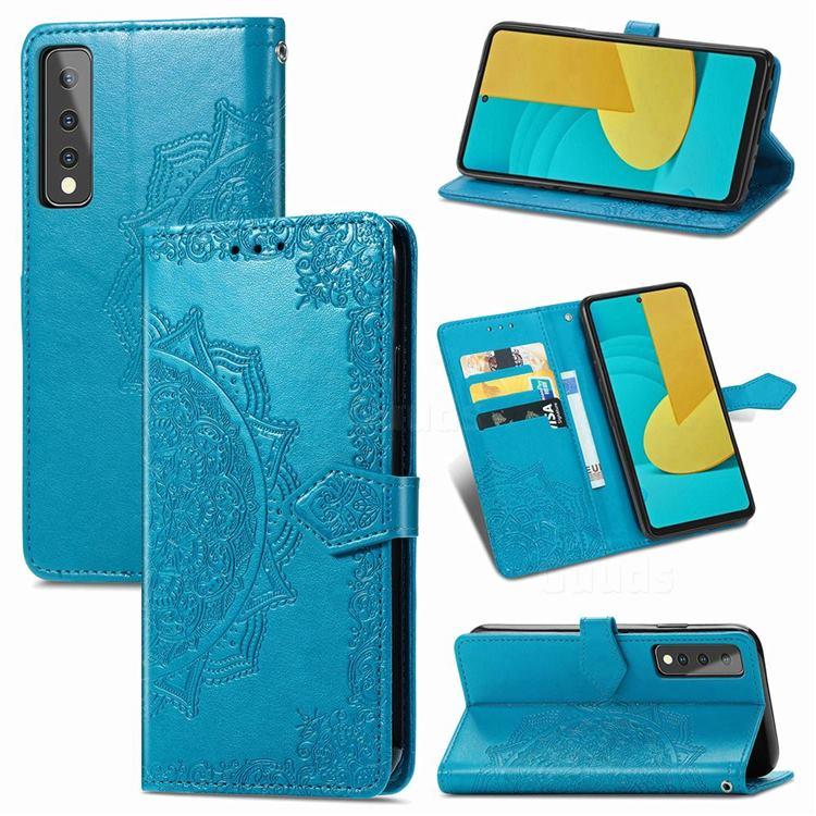 Embossing Imprint Mandala Flower Leather Wallet Case for LG Stylo 7 5G - Blue