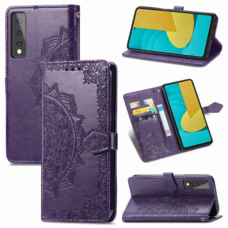 Embossing Imprint Mandala Flower Leather Wallet Case for LG Stylo 7 5G - Purple