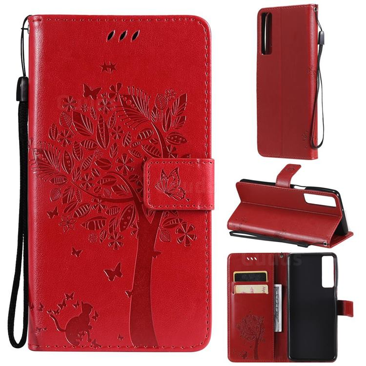 Embossing Butterfly Tree Leather Wallet Case for LG Stylo 7 5G - Red