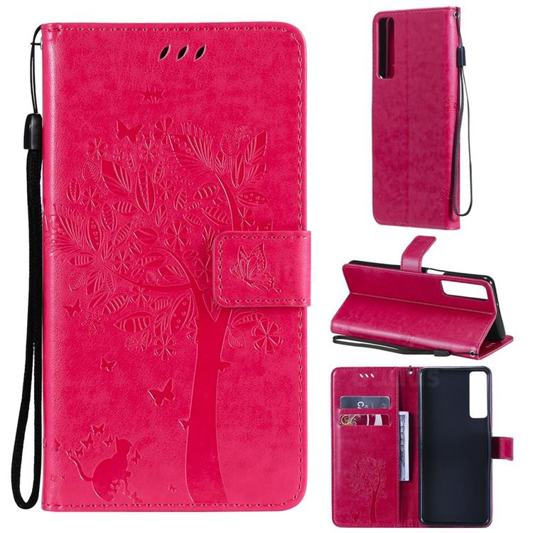 Embossing Butterfly Tree Leather Wallet Case for LG Stylo 7 5G - Rose