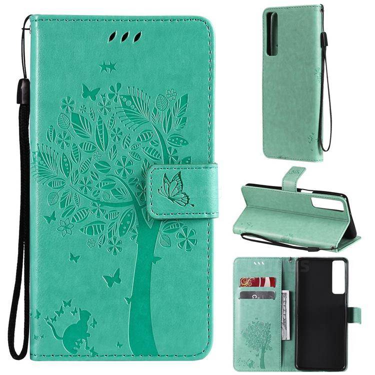 Embossing Butterfly Tree Leather Wallet Case for LG Stylo 7 5G - Cyan