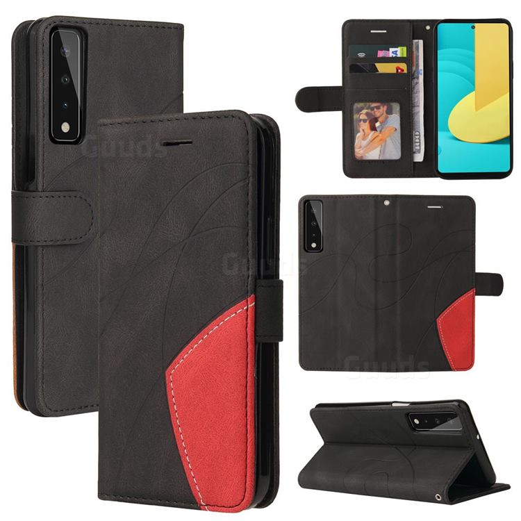 Luxury Two-color Stitching Leather Wallet Case Cover for LG Stylo 7 5G - Black