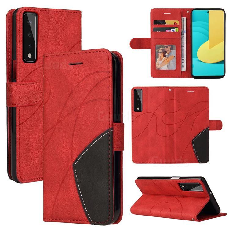 Luxury Two-color Stitching Leather Wallet Case Cover for LG Stylo 7 5G - Red