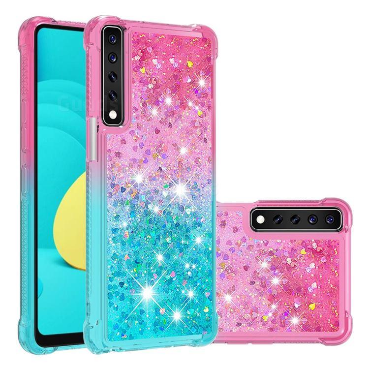 Rainbow Gradient Liquid Glitter Quicksand Sequins Phone Case for LG Stylo 7 4G - Pink Blue