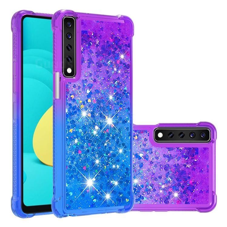 Rainbow Gradient Liquid Glitter Quicksand Sequins Phone Case for LG Stylo 7 4G - Purple Blue