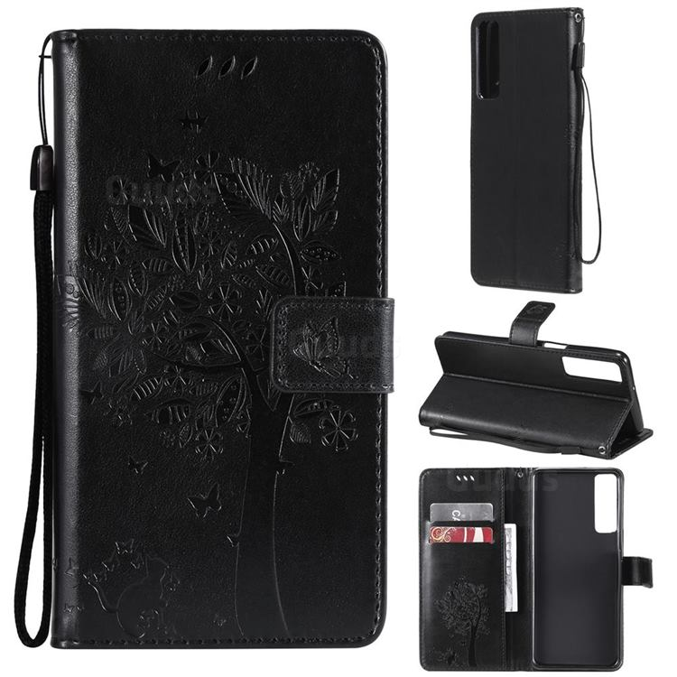 Embossing Butterfly Tree Leather Wallet Case for LG Stylo 7 4G - Black