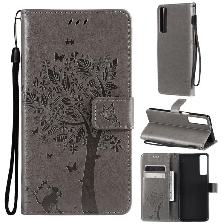 Embossing Butterfly Tree Leather Wallet Case for LG Stylo 7 4G - Grey