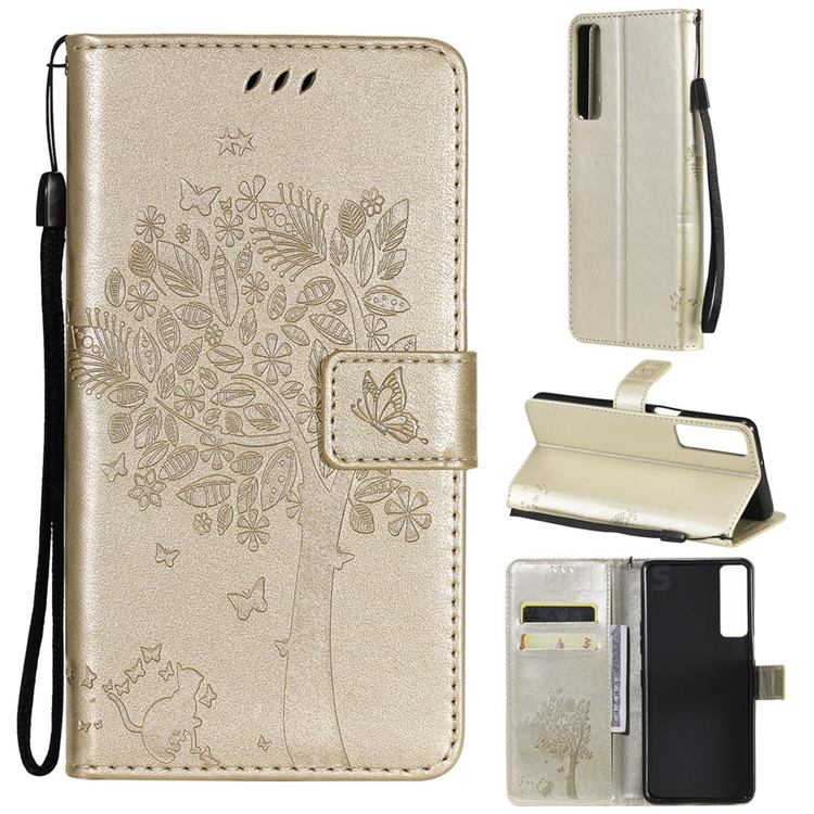 Embossing Butterfly Tree Leather Wallet Case for LG Stylo 7 4G - Champagne