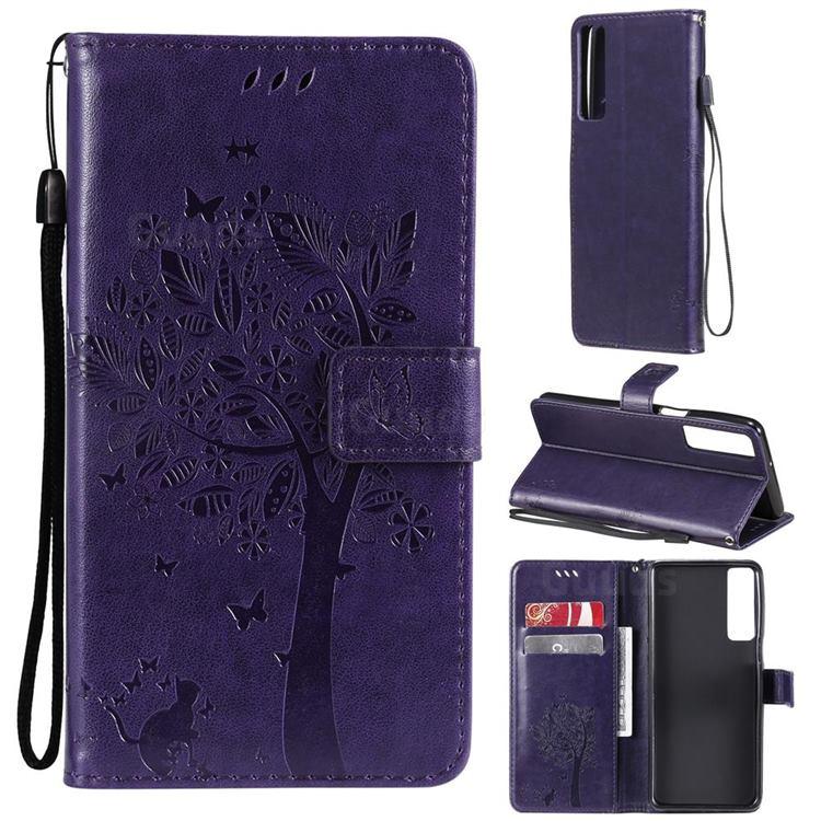 Embossing Butterfly Tree Leather Wallet Case for LG Stylo 7 4G - Purple