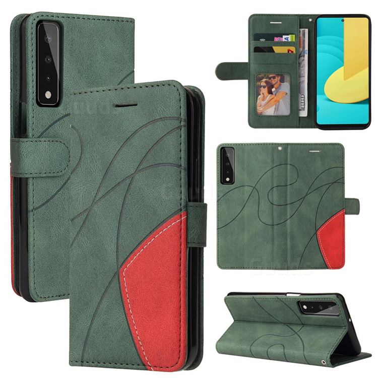 Luxury Two-color Stitching Leather Wallet Case Cover for LG Stylo 7 4G - Green