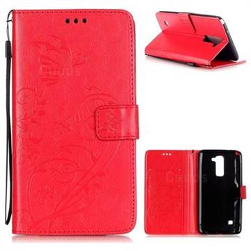 Embossing Butterfly Flower Leather Wallet Case for LG Stylo 2 LS775 Criket - Red