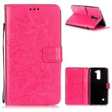 Embossing Butterfly Flower Leather Wallet Case for LG Stylo 2 LS775 Criket - Rose