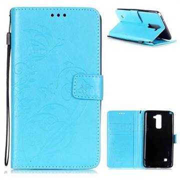 Embossing Butterfly Flower Leather Wallet Case for LG Stylo 2 LS775 Criket - Blue