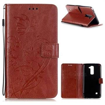 Embossing Butterfly Flower Leather Wallet Case for LG Stylo 2 LS775 Criket - Brown