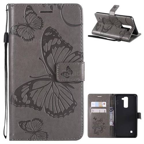 Embossing 3D Butterfly Leather Wallet Case for LG Stylo 2 LS775 Criket - Gray