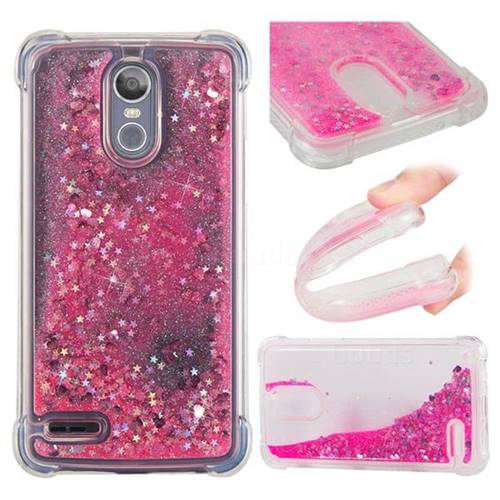 Dynamic Liquid Glitter Sand Quicksand TPU Case for LG Stylus 3 Stylo3 K10 Pro LS777 M400DK - Pink Love Heart