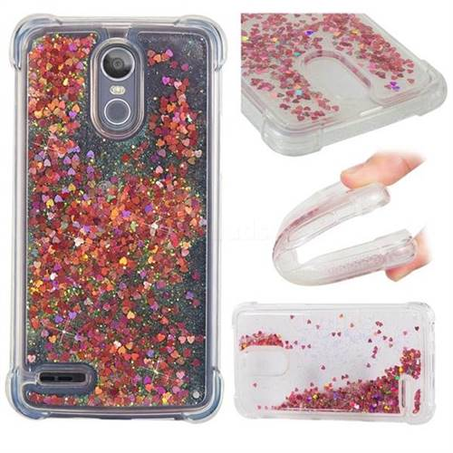 Dynamic Liquid Glitter Sand Quicksand TPU Case for LG Stylus 3 Stylo3 K10 Pro LS777 M400DK - Rose Gold Love Heart